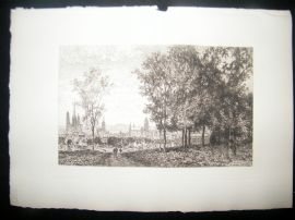 Maxime Lalanne 1885 Etching. Rouen from the Country, France